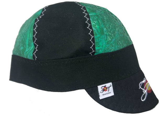 Green Marbled & Black Embroidered Hybrid Welding Cap