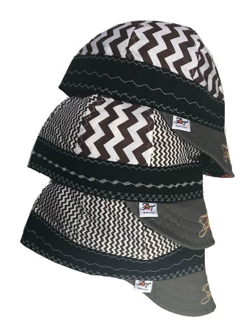 Chocolate Chevron Size 7 1/2 Embroidered Hybrid Welding Cap Choose your Pattern