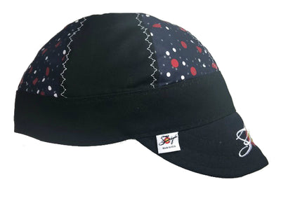 Blue Polka Dots Mixed Panel Size 7 1/2 Embroidered Hybrid Welding Cap
