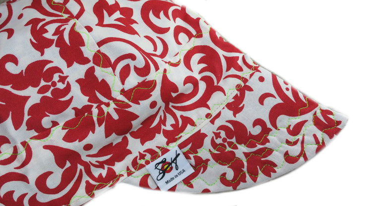 White & Bright Red Filigree Size 7 1/4 Cotton Welding Cap