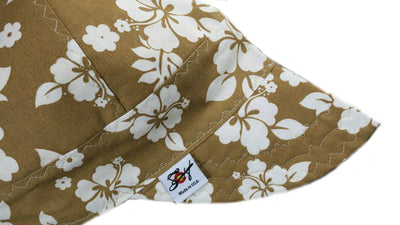 Tan Hawaiian Flowers Size 7 1/4 Cotton Welding Cap