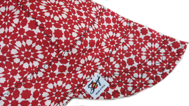 Bad@$$ White & Red Geometric Star Size 7 1/2 Cotton Welding Cap