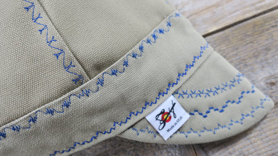 Khaki w/ Bright Blue Size 7 7/8 Canvas Welding Cap