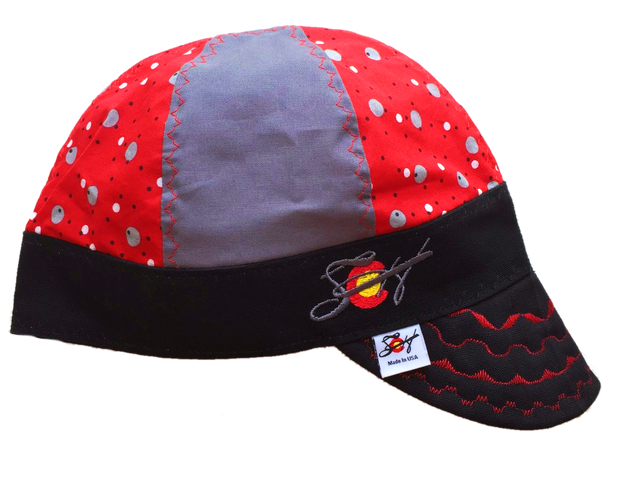 🔴⚪️  Silver & Red Dotted 🔴⚪️ Embroidered Hybrid Welding Cap