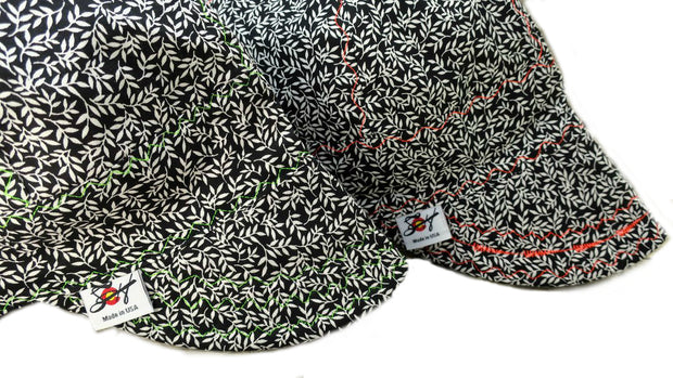 Black & White Vines w/ Neon Stitching Size 7 3/4 Unlined Cotton Welding Cap