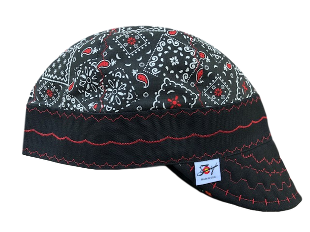 "Black/Red ""Gangsta"" Paisley Hybrid Welders Cap"