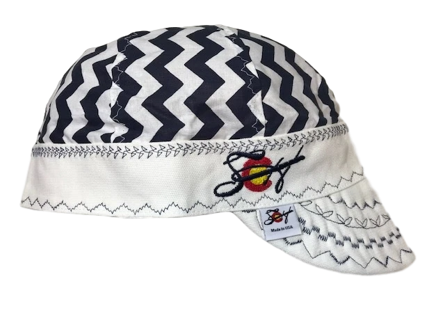 Navy Blue Large Chevron Hybrid Size 7 1/2 Welding Cap