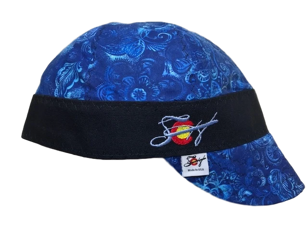 Blue Tone on Tone Paisley Embroidered Size 7 1/2 Welding Cap