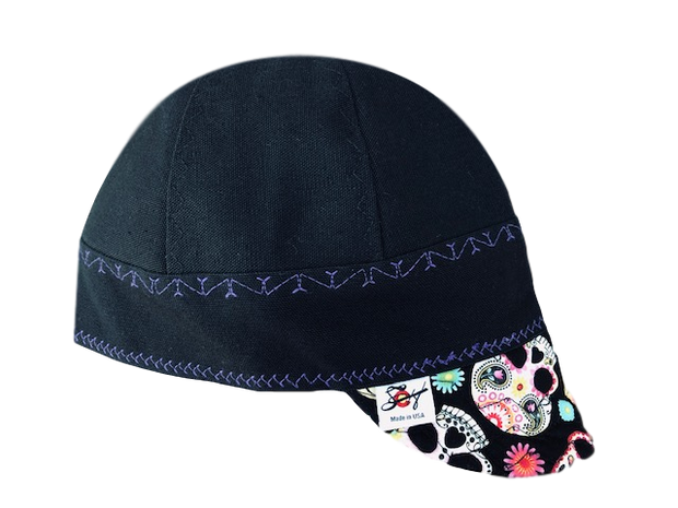 Sugar Skull Bill Black/Purple Prewashed Canvas Welders Cap