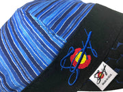 Metallic Stripe Bright Blue Embroidered Hybrid Welding Cap
