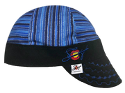 Metallic Stripe Bright Blue Embroidered Hybrid Welders Cap