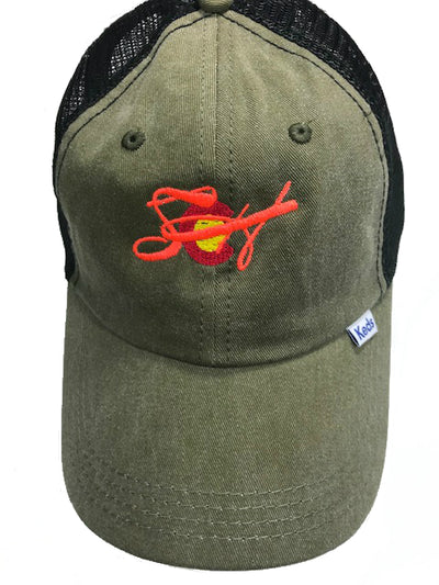 Women's Olive Green/Blaze Orange Embroidery Baseball Cap