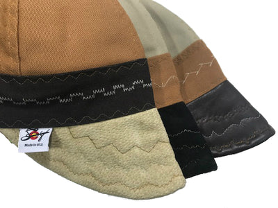 3 Pk. Leather Bill One of a Kind Set!! Tri-Color Canvas Size 7 1/2 Prewashed Welding Caps