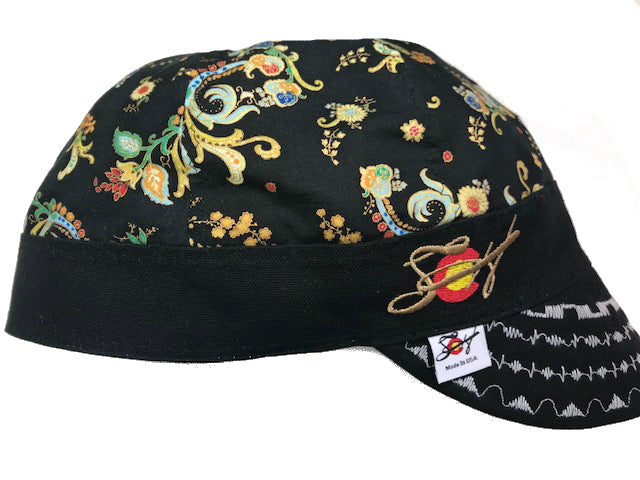 Gold Metallic Unique Paisley Embroidered Hybrid Welding Cap