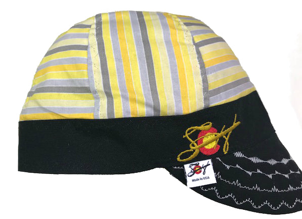 Sunshine Yellow Striped Embroidered Hybrid Welding Cap