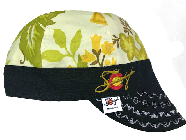 Grandma's Curtains Vintage Print Embroidered Hybrid Welding Cap
