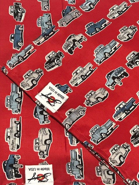 Vintage Trucks on Red Cotton Bandanna