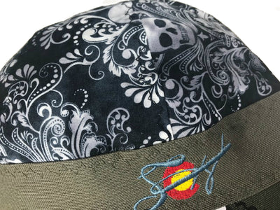 Skull Damask Embroidered Hybrid Welding Cap