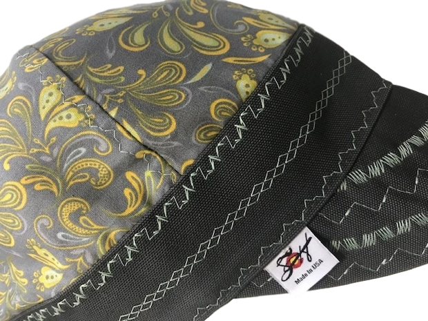 Grey & Yellow Unique Paisley Hybrid Welding Cap