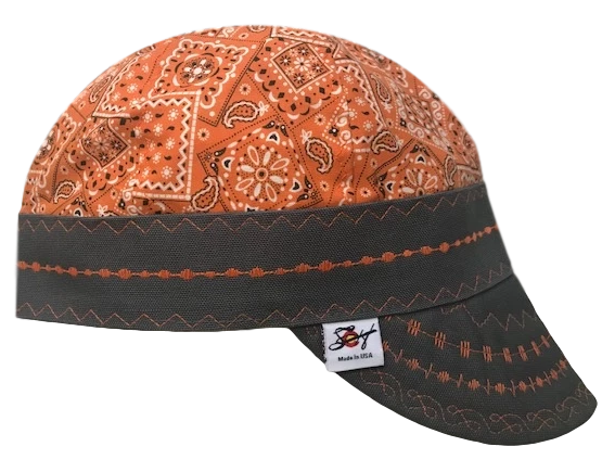 Safety Orange Bandanna Print/Paisley Hybrid Welders Cap
