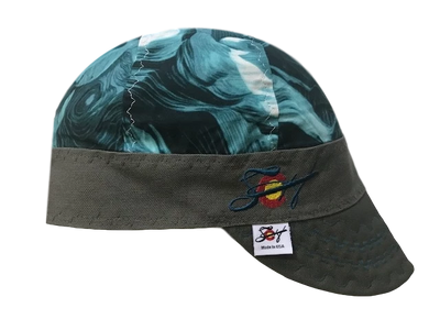 Teal Paint Strokes Embroidered Hybrid Welders Cap