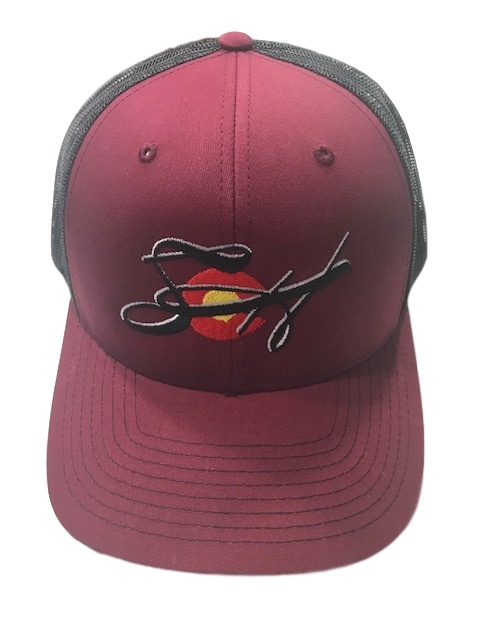 Burgundy & Black Embroidered Richardson 112 SnapBack Mesh Back Trucker Cap