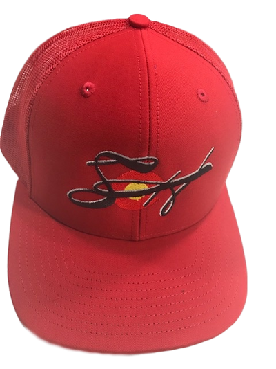 Fire Red Embroidered Richardson 112 SnapBack Mesh Back Trucker Cap