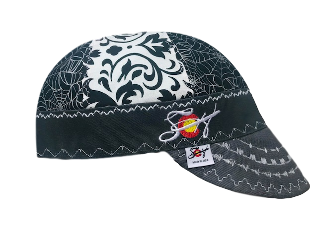 Black/White Damask Metallic Mixed Panel Embroidered Hybrid Welders Cap