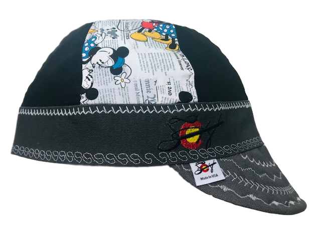 Newspaper Print Mickey & Minnie Mouse Limited Edition Mixed Panel Embroidered Hybrid Welding Cap