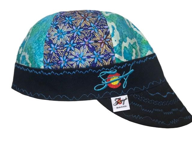 Teal & Gold Metallic Mixed Panel Embroidered Hybrid Welding Cap