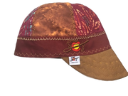 Gold & Burgundy Mixed Panel Embroidered Hybrid Welding Cap