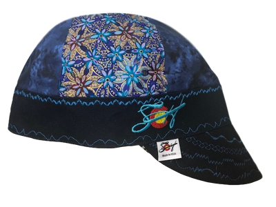 Cloudy Navy & Metallic Gold Mixed Panel Embroidered Hybrid Welding Cap