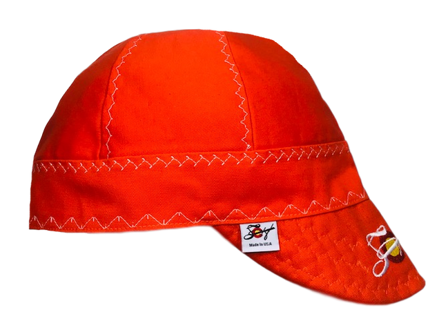 Safety Orange & White Embroidered Prewashed Canvas Welding Cap