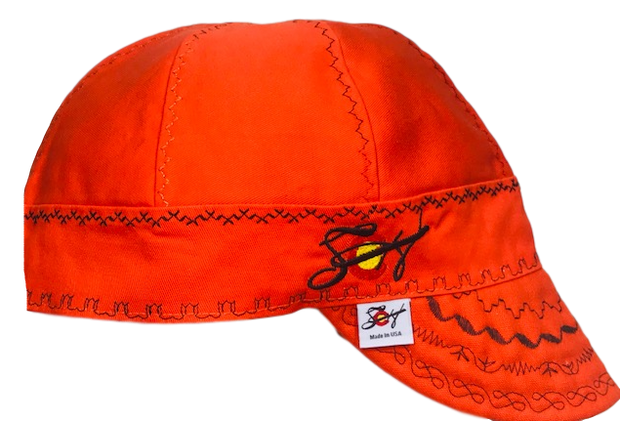 Safety Orange & Black Embroidered Prewashed Canvas Welding Cap