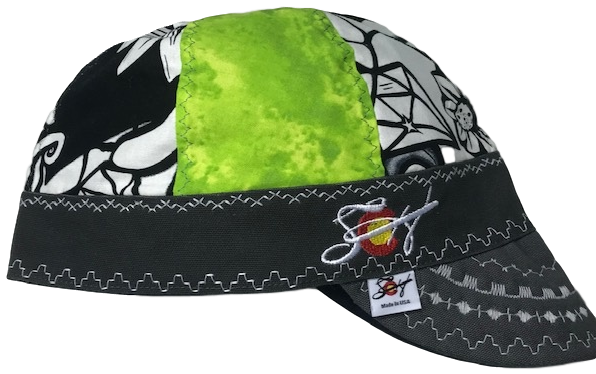 Neon Green/Black & White Graffitti Mixed Panel Embroidered Hybrid Welding Cap