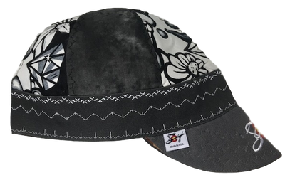 Black Smoke/Black & White Graffitti Mixed Panel Embroidered Hybrid Welding Cap