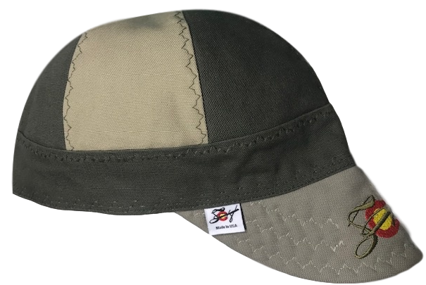 "The ""Distinguished"" Welding Cap Olive & Khaki Embroidered Canvas Welders Cap"