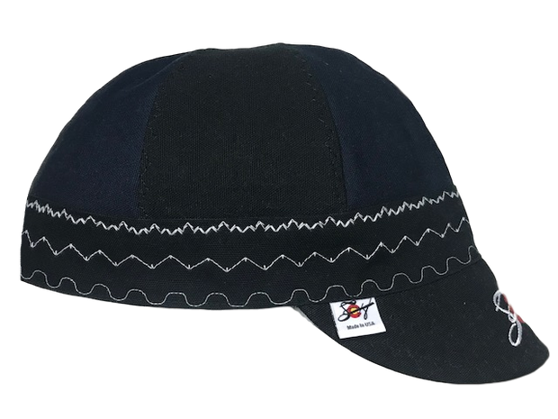 Black & Blue Mixed Panel Embroidered Canvas Welding Cap