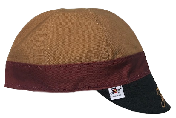 Brown/Burgundy/Black Triple Play Embroidered Prewashed Canvas Welding Cap