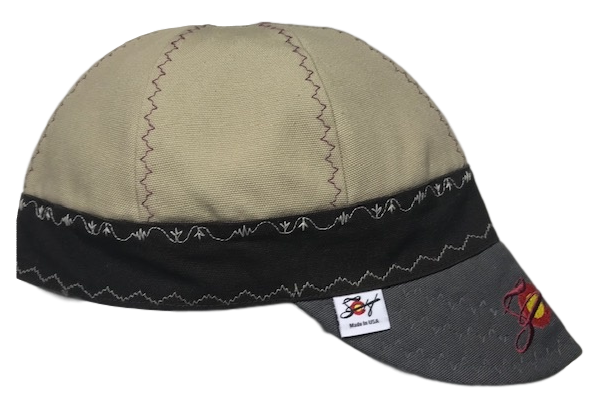 Khaki/Chocolate/Grey  Triple Play Embroidered Prewashed Canvas Welding Cap