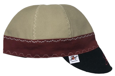 Khaki/Burgundy/Black Triple Play Embroidered Prewashed Welding Cap
