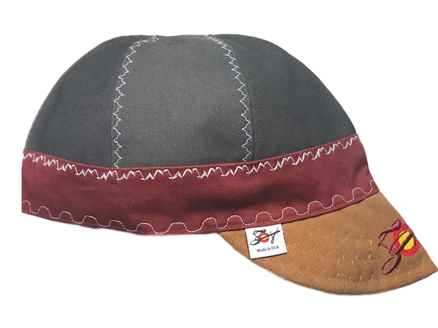 Grey/Burgundy/Brown Triple Play Embroidered Prewashed Welding Cap