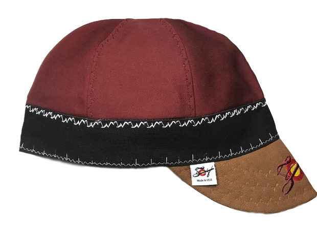 Burgundy/Chocolate/Brown Triple Play Embroidered Prewashed Welding Cap