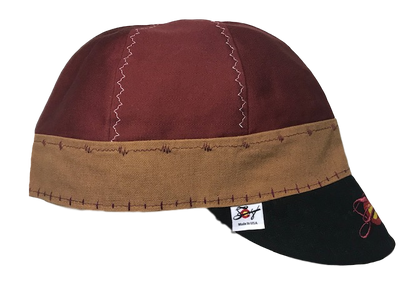 Burgundy/Brown/Black Triple Play Embroidered Prewashed Welding Cap