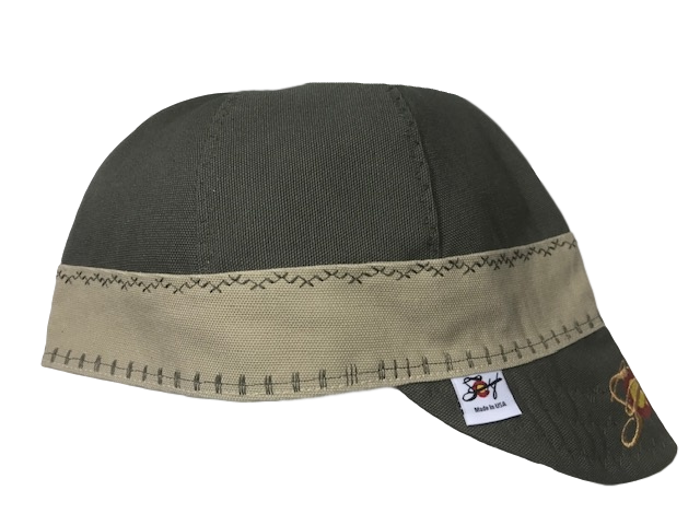 2-Tone Olive/Khaki Embroidered Prewashed Canvas Welding Cap