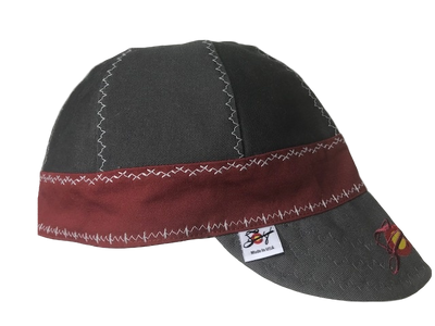 2-Tone Olive/Burgundy Embroidered Prewashed Canvas Welding Cap
