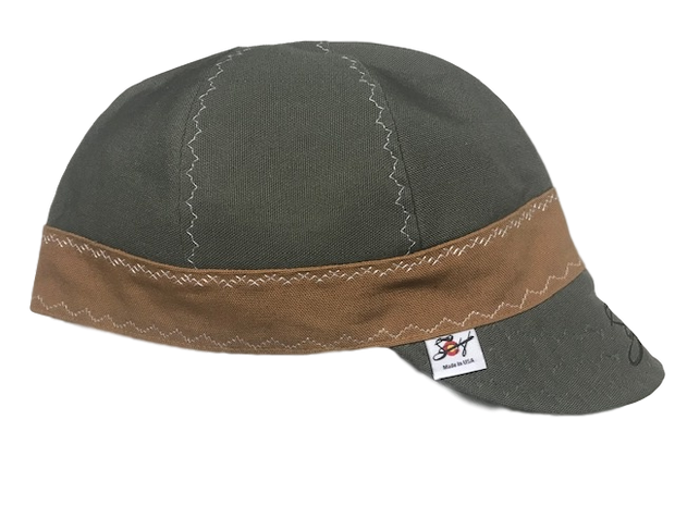 Olive/Brown Canvas Embroidered Size 7 7/8 Prewashed Welding Cap