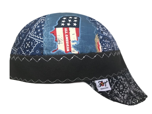 Size 7 1/8 Paisley American Old Guys Rule Mixed Panel Hybrid Welders Cap