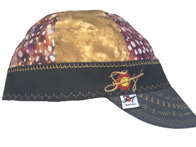 Gold & Spots Mixed Panels Embroidered Hybrid Size 7 3/8 Welding Cap