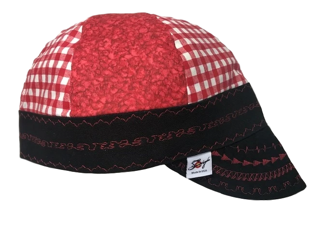 Red Mixed Panel  Hybrid Welders Cap